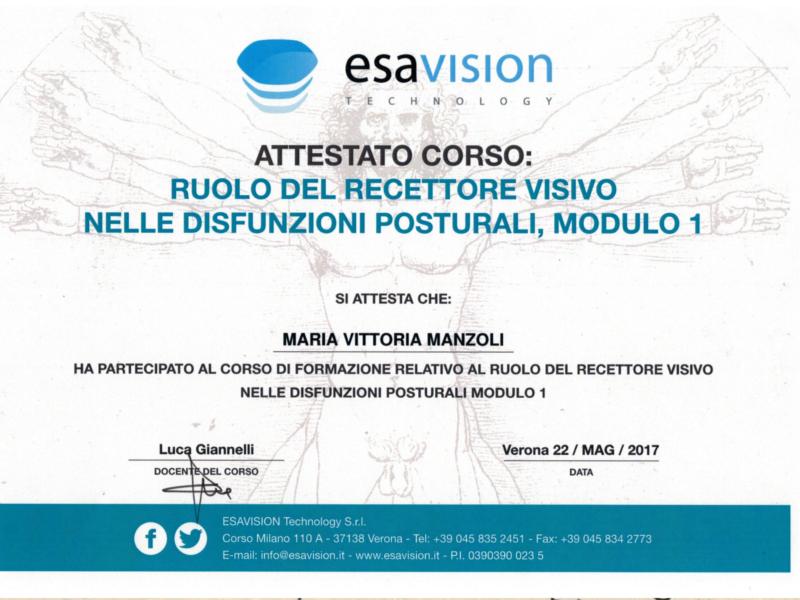 certificato esa vision 3 Maria vittoria manzoli