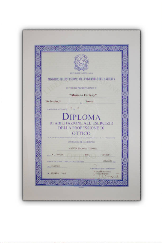diploma ottica maria vittoria manzoli
